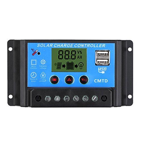 Anself 10A/20A 12V/24V Solar Charge Controller with LCD Display Auto...