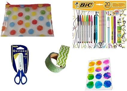 Estuche transparente para lápices de colores con juego de 20 piezas de BIC School – Mini cuaderno a juego y 2 cintas de manualidades con tijeras Oxford: Amazon.es: Oficina y papelería