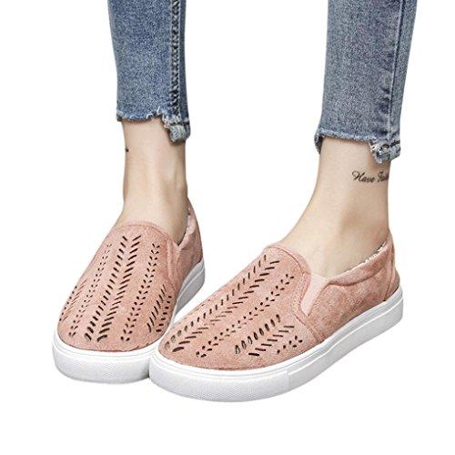 Lolittas Femmes Dames Chaussures Plate-forme Hollow Out Flat Glissez Vos Bout Rond De Sport Plates En Daim Creuses Pour Femme Rose