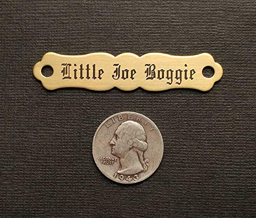 SADDLE NAME PLATE ORNATE Small Thick Solid Brass Custom Engraved