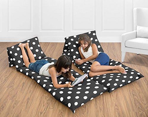 Black and White Polka Dot Kids Teen Floor Pillow Case Lounger Cushion Cover