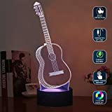 LED Night Light, Ticent Creative 3D Illusion Lamp, Guitar Nightlights 7 Colors Changing Touch Control Table Desk Lighting Bedroom Home Decorative Ideas for Music Lovers, Kids, Adults, Girls, Boys, Festival Birthday Prese