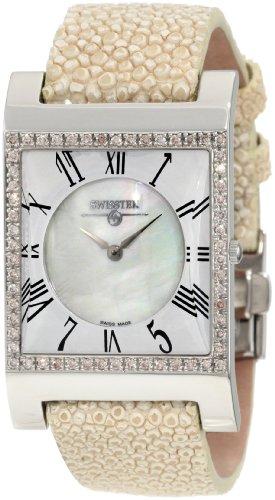 Diamond Pink Stingray - Swisstek SK47742L Limited Edition Swiss Pink Diamond Watch With Mother-Of-Pearl Dial, Genuine Stingray