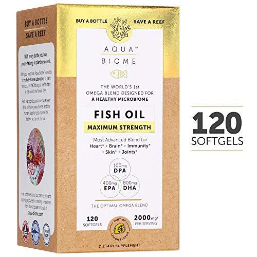 (Aqua Biome, Fish Oil Maximum Strength, Complete Omega 3 Supplement, DHA, EPA, DPA, Gluten Free & Non-GMO, 120 softgels (60 Servings))