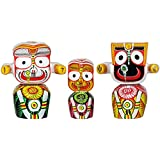 Beautiful handicraft colourful wooden idol of lord Jagannath balaram and subhadra for living room, study room, hotels, office , corporate house , religious places , gifting etc . size 6 inches