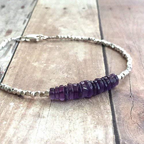 Amethyst Bracelet, Hill Tribe Silver Bead Jewelry, Purple Rondelle Bead Bracelet, Natural Amethyst Jewelry, Custom Size Gemstone Bracelet 5 mm 7 inch Long by Gemswholesale
