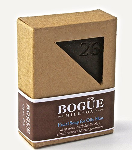 Bogue Milk Soap - No.26 Facial Bar for Oily Skin - Excess Oil and Toxin Removing Citrus, Vetiver and Rose Geranium Essential Oils with Kaolin Clay -