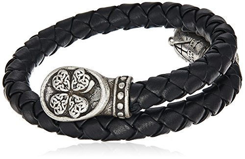 (Alex and Ani Men's Braided Leather Wrap Bracelet, Four Leaf Clover, Rafaelian Silver, Expandable)