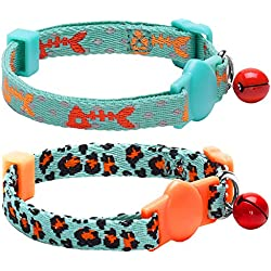 "Blueberry Pet Pack of 2 Cat Collars, Hunting Expedition with Fish Bone and Leopard Print Adjustable Breakaway Cat Collar with Bell, Neck 9""-13"""
