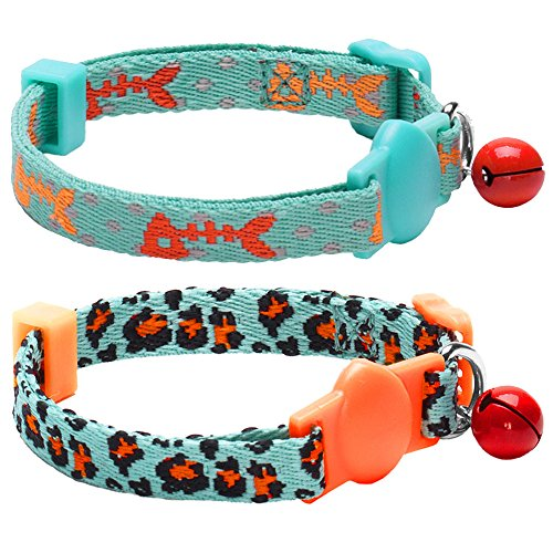 Blueberry Pet Pack of 2 Hunting Expedition Fish Bone and Leopard Print Adjustable Breakaway Cat Collar with Bell, Have Personalized Option