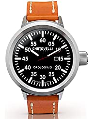 Chotovelli Big Pilot Mens Watch Analog date display brown leather strap 747.3