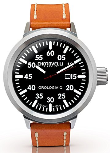 Chotovelli Big Pilot Men's Watch Analog date display brown leather strap 747.3 - Strap Date Display