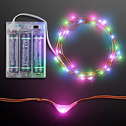 Blue, Green & Pink LED Battery Operated Craft String Lights
