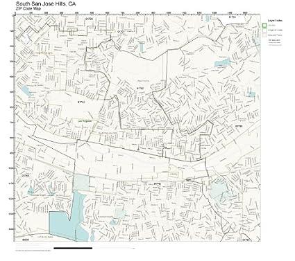 Amazon Com Zip Code Wall Map Of South San Jose Hills Ca Zip Code