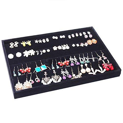 Homanda Black Velvet 80 Slots Earrings Display Showcase Organizer Holder ()