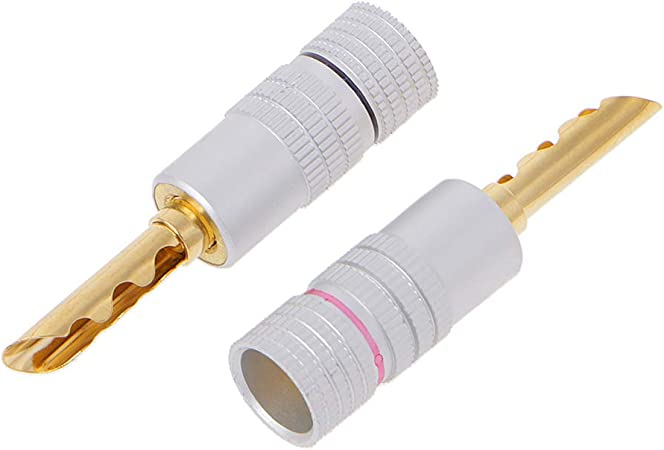 BIlinli Connettori per diffusori a Banana con connettore a Banana BFA 4mm in Rame Placcato Oro 8 Pezzi