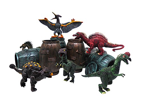"6 Pcs Assorted Dinosaur Figure Play Set in Barrel 4"" Action Figures Toy Playset (Animal Planet Raptor Dog Costume)"