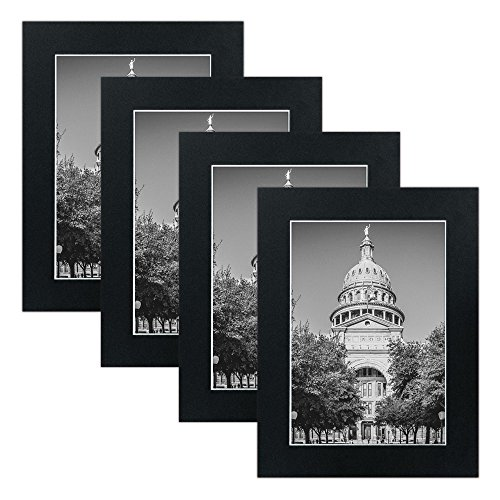 Mat Board Picture Frames - Multi Pack Frame Set 4pc . Wall gallery photo collage artwork and flat low profile kit BLACK. No Nails Required. Hanging strips included. (5x7) (Acrylic Flat Mirror)