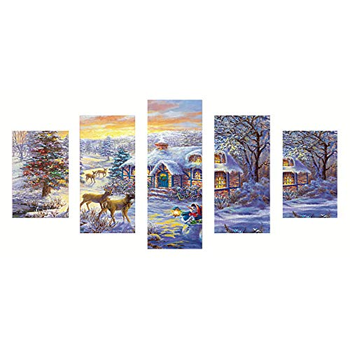 (Chenway Happy Christmas Full Drill 5D DIY Point Diamond Painting - Crystal Rhinestone Embroidery Kit Home Decor - Snowing Santa 40 x 80cm (E))