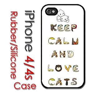 iPhone 4 4S Rubber Silicone Case - Keep calm and Love Cats Cute Kitty