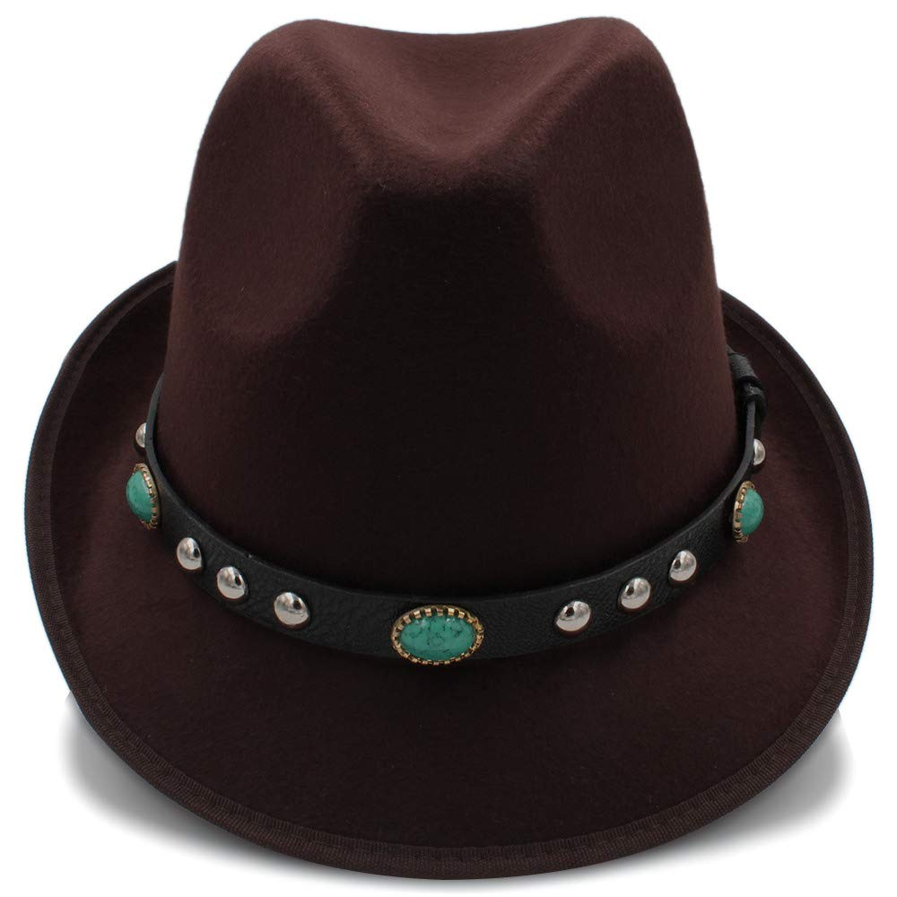 Color : Red, Size : 56-58cm Caps Autumn Winter Women Men Wool Vintage Fedora Hats Jazz Vintage Ladies Fedora Hats with Metal Belt Female Curled Brim Hat Elegant Hats Natural Caps Fashion Hats