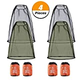 Elibeauty 4 Pack Head Net Face Mesh Net Head Mosquito Protecting Net for Any Outdoor Lover Outdoor Hiking Camping Climbing Walking Mosquito Fly Insects Bugs Preventing (Black and Navy Green)