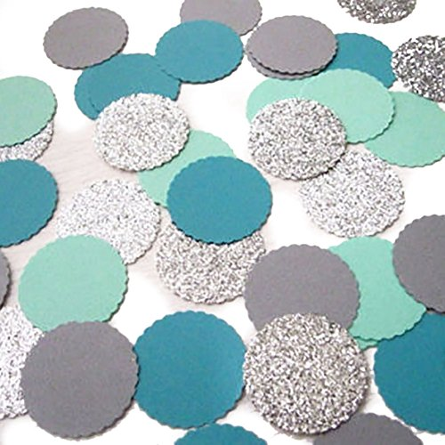 """UPC 686214426159, Custom & Fancy {1"""" Inch} Approx 100 Pieces of Large Round Circle """"Table"""" Party Confetti Made of Premium Card Stock w/ Trendy Color Edged Flutter Dot Plain & Glitter Design [Blue, Teal, Gray & Silver]"""