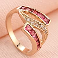 khamchanot Womens 14k Yellow Gold Filled Ruby Princess Cut Wedding Engagement Propose Ring (9)