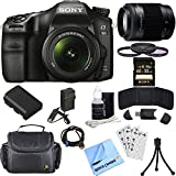 Sony ILCA68K/B a68 A-Mount Digital Camera 18-55mm + 55-200mm Lens Bundle includes ILCA68/B Camera, 18-55mm + 55-200mm Zoom Lenses, 55mm Filter Kit, 32GB SDHC Memory Card, Beach Camera Cloth and More!