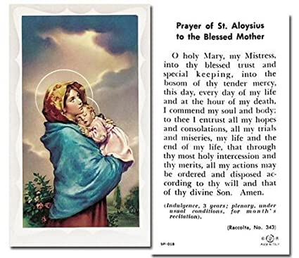 Amazon Com Prayer Of St Aloysius To The Blessed Mother