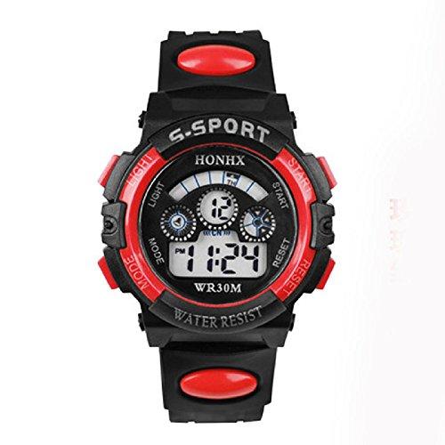 SMTSMT Children's Boy Digital Alarm Date Sports Wrist Watch - Red