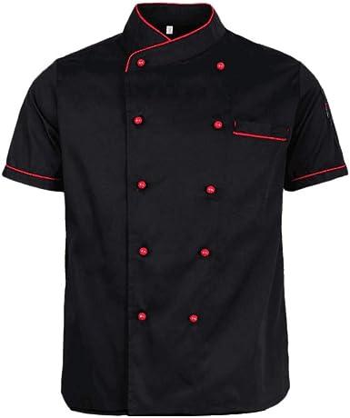 RIsxffp Doble botonadura chaqueta de cocinero abrigo de manga corta de chef de traje de chef de restaurante de cocina de hotel: Amazon.es: Ropa y accesorios