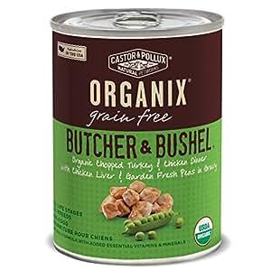 Organix Butcher & Bushel Chopped Turkey & Chicken Dinner with Chicken Liver & Garden Fresh Peas Grain-Free Adult Dog Food, 12.7-Ounce Cans