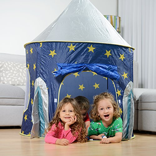 Rocket Ship Play Tent - Spaceship Playhouse for Kids with Bonus Space Torch Projector Toy – Space Playhouse for Boys & Girls