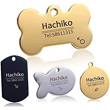 Custom Dog collar Stainless steel dog cat tag Free engraving Pet Dog collar accessories ID tag name telephone Personalized (Golden Bone, L)