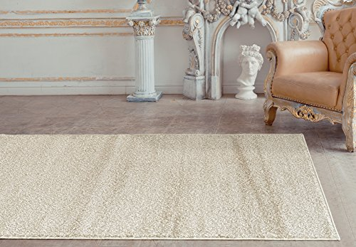 Soft Pile (Adgo Infinity Shaggy Collection Solid Vivid Color High Soft Pile Carpet Thick Plush Bedroom Living Dining Room Shag Floor Rug, Beige, 3'7