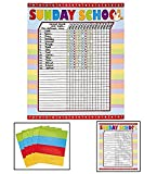 "Sunday School Attendance Sticker Charts (Includes six 17"" x 22"" charts)"