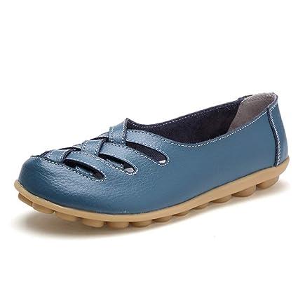 Mujer Zapatos Planos Cuero Cross Hueco Soft Único Ligero Mocasines Talón Bajo Azul Ronda Toe Slip