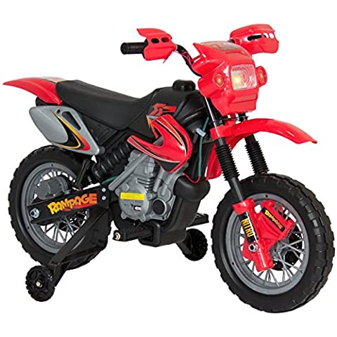 Best Choice Products Kids 6V Electric Ride On Motorcycle Dirt Bike W/ Training Wheels- Red (Push Button Bike Horn)