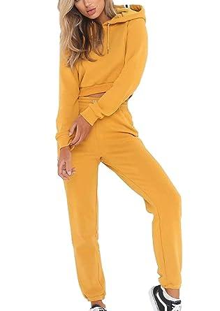01122a56da77d Combinaison De Jogging Femme Hoodie Deux Pièces Pantalon De Sport Set  Automne Casual Basic Survetement Sport