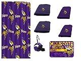 NFL Minnesota Vikings 18 Piece Bath Ensemble: Set Includes 1 Shower Curtain, 12 Shower Hooks, 2 Bath Towels, 2 Hand Towels 1 Bath mat