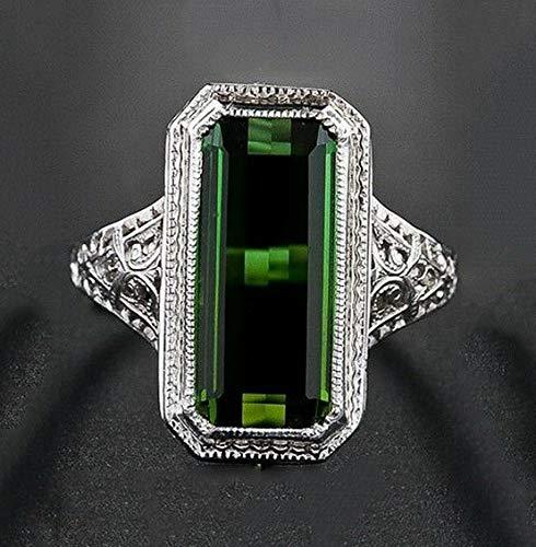 Dokis Women Men 925 Silver White Topaz Emerald Wedding Engagement Ring Size 6-10   Model RNG - 17458   6 ()
