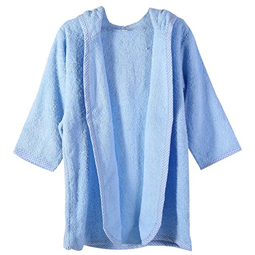 October Elf Unisex Baby Robe Hooded Cotton Bathrobe and Towel (L, Blue) ()