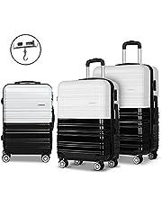 Set of 3 Luggage Suitcase Trolley - Black & White