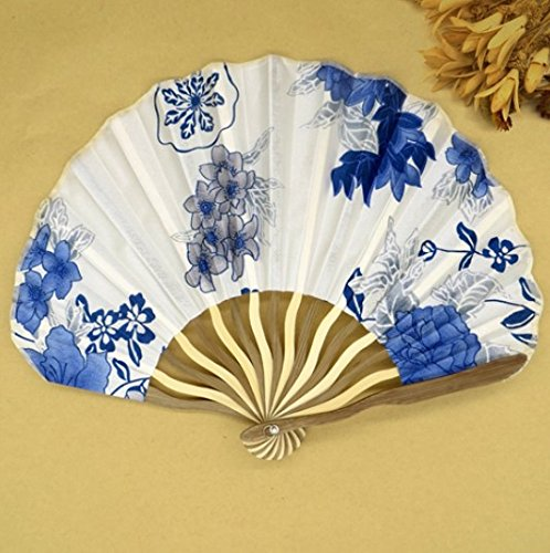 Light Blue 30Pcs/Lot Personalized Chinese Japanese Folding Hand Fan Fabric Floral Wedding Party Supplies by Hand Fan