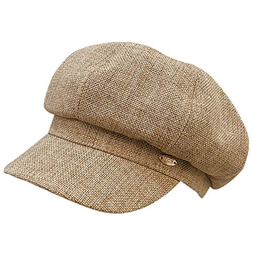 (WETOO Newsboy Cap Women Summer Cap Beret Newsboy Style Hat Vintage Bonnet Visor Linen Cotton Newsboy Beret Visor Painter Hats)