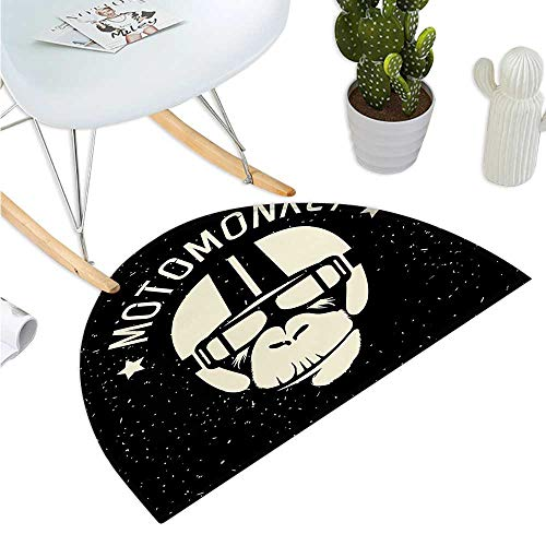 Outer Space Semicircular Cushion Sign Alien Monkey with Astronaut Costume in a Galaxy with Stars Poster Entry Door Mat H 47.2