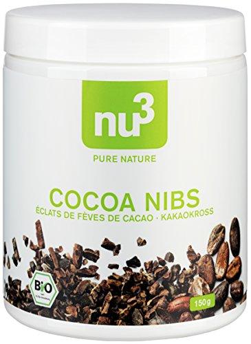 nu3 Premium Bio Cocoa Nibs, 150g - Kakao-Bohnen-Splitter aus den peruanischen Anden; ungeröstet in Rohkost-Qualität