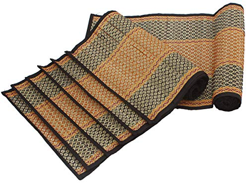 Crafkart Reversible Set of 6 Woven Placemats Place Mats and a Table Runner for Dining Kitchen - Hand Woven Organic Table Mats with Black & Beige Darbha Grass Straws & Thread - Dining Table Decor]()