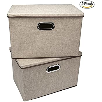 Storage bins,Wecye Large Foldable Storage Containers with Removable Lid and Handles,Storage box Storage cubes Organizer,Set of 2 (Khaki)